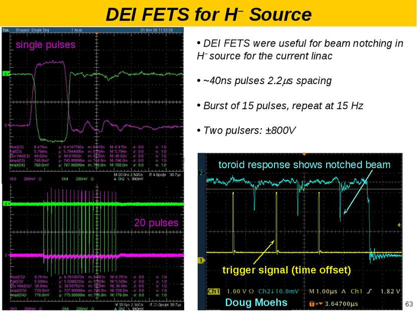 Doug Moehs 20 pulses single pulses DEI FETS were useful for beam notching in ...