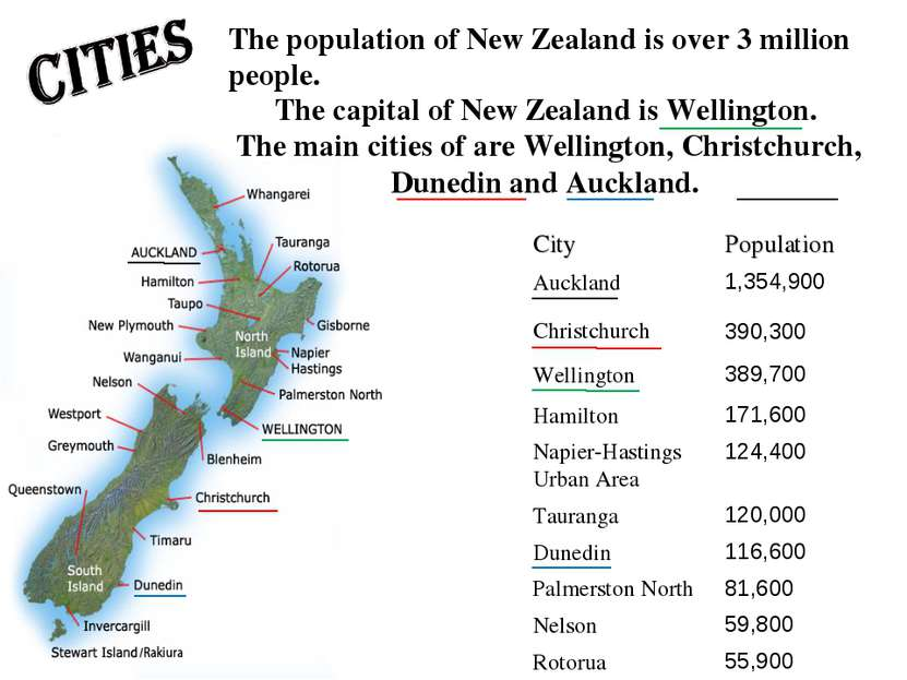 The capital of New Zealand is Wellington. The main cities of are Wellington, ...
