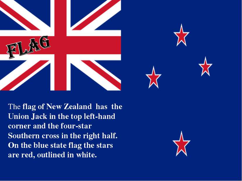 The flag of New Zealand has the Union Jack in the top left-hand corner and th...