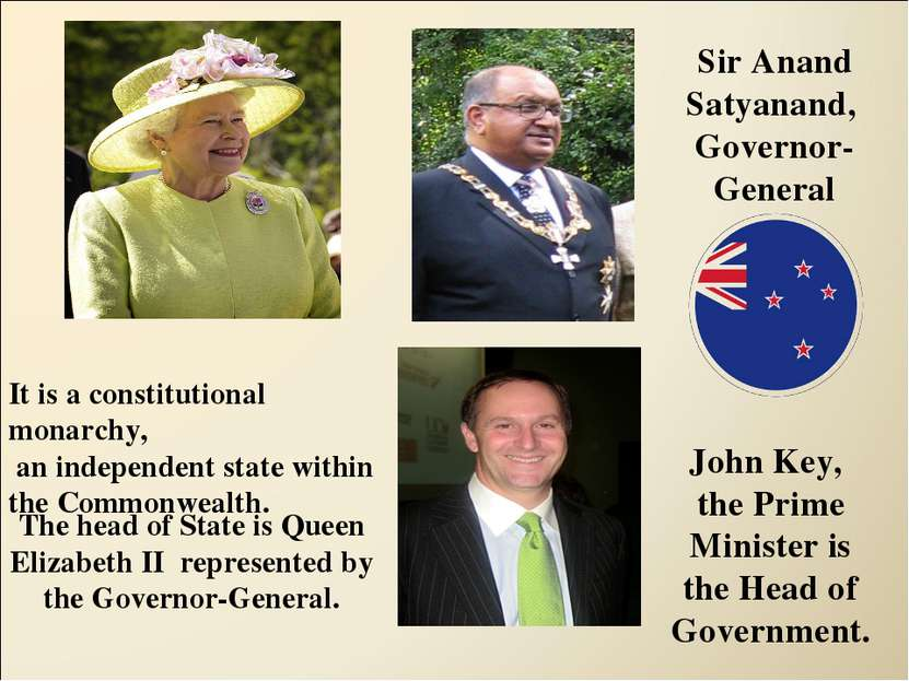 The head of State is Queen Elizabeth II represented by the Governor-General. ...
