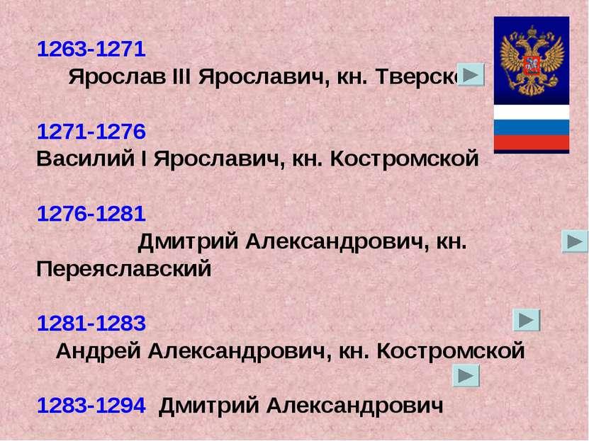 1263-1271 Ярослав III Ярославич, кн. Тверской 1271-1276 Василий I Ярославич, ...