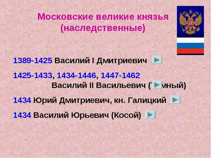 Московские великие князья (наследственные) 1389-1425 Василий I Дмитриевич 142...
