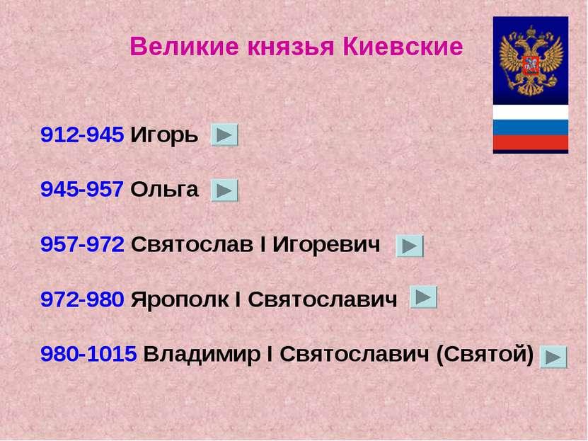 Великие князья Киевские 912-945 Игорь 945-957 Ольга 957-972 Святослав I Игоре...