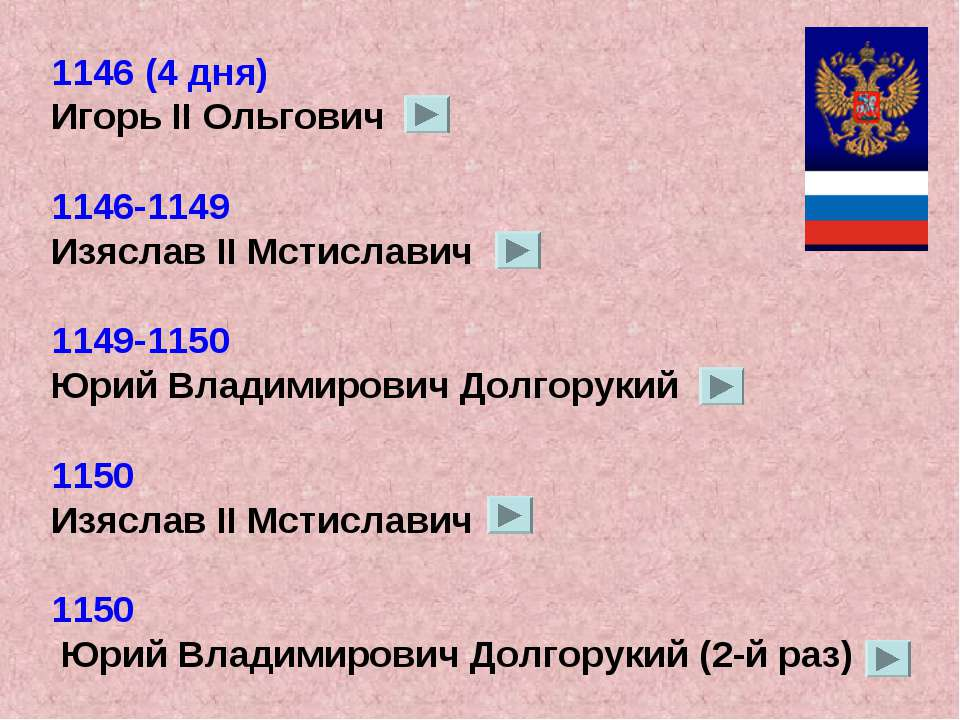 1146 (4 дня) Игорь II Ольгович 1146-1149 Изяслав II Мстиславич 1149-1150 Юрий...