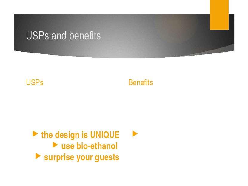 USPs and benefits USPs the design is UNIQUE use bio-ethanol surprise your gu...