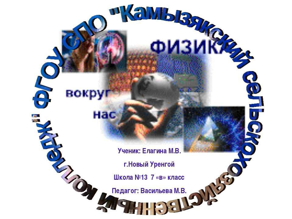 Ученик: Елагина М.В. г.Новый Уренгой Школа №13 7 «в» класс Педагог: Васильева...