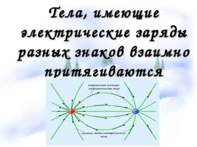 Тела, имеющие электрические заряды разных знаков взаимно притягиваются