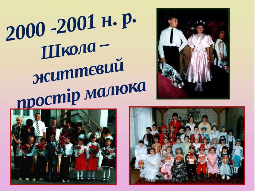 2000 -2001 н. р. Школа – життєвий простір малюка