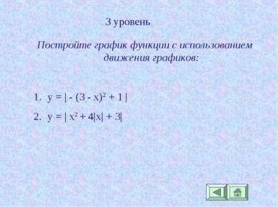 3 уровень Постройте график функции с использованием движения графиков: y = | ...