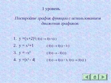 1 уровень Постройте график функции с использованием движения графиков: y =(x+...