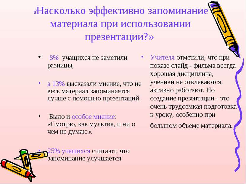 «Насколько эффективно запоминание материала при использовании презентации?» 8...