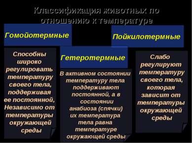 Классификация животных по отношению к температуре Гомойотермные Пойкилотермны...