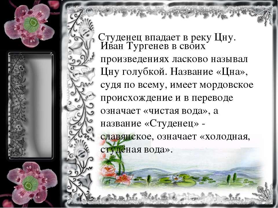 Студенец впадает в реку Цну. Иван Тургенев в своих произведениях ласково назы...