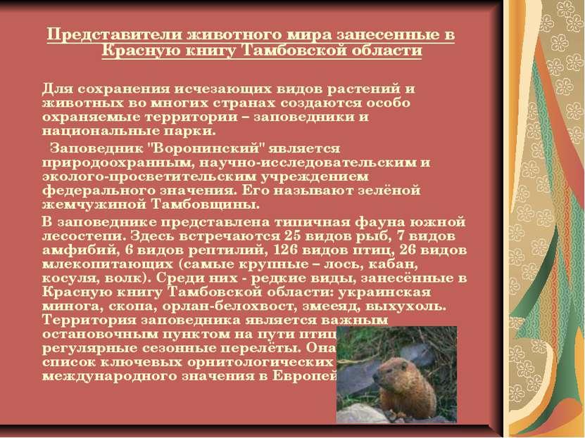Представители животного мира занесенные в Красную книгу Тамбовской области Дл...