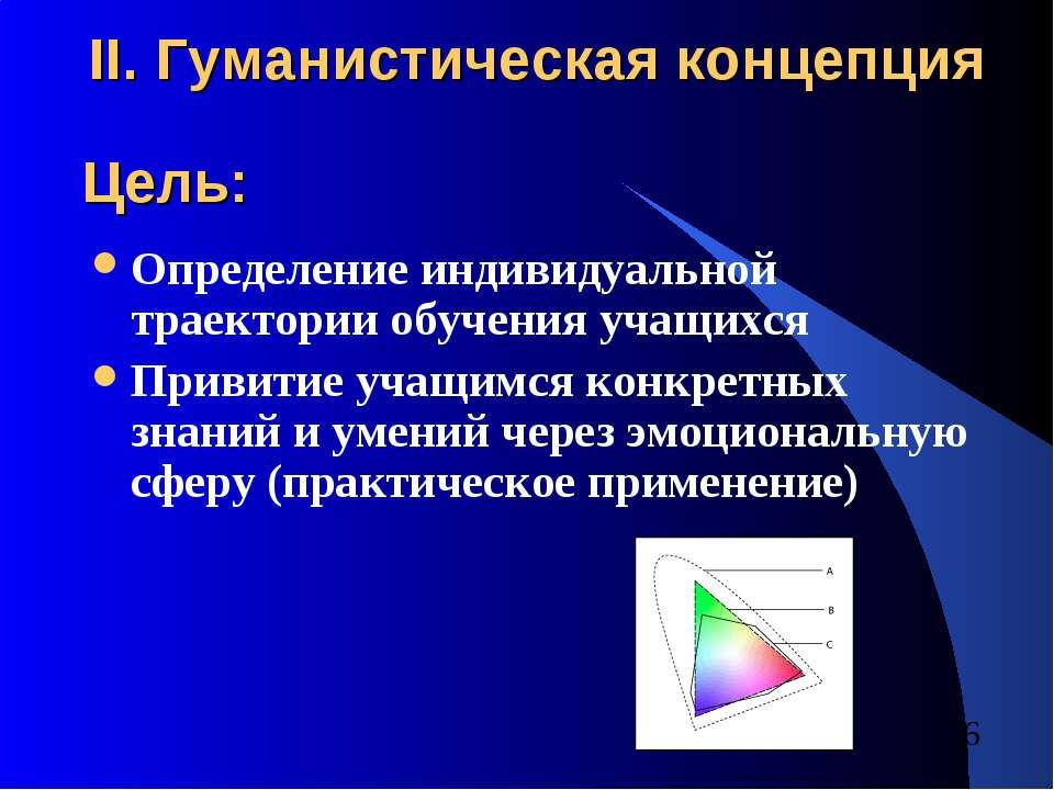 II. Гуманистическая концепция Определение индивидуальной траектории обучения ...