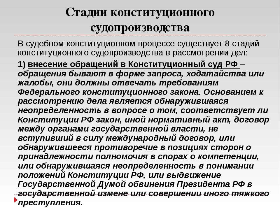 Стадии конституционного судопроизводства В судебном конституционном процессе ...