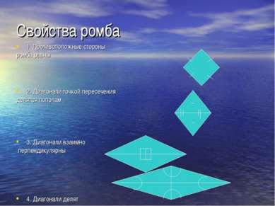 Свойства ромба 1. Противоположные стороны ромба равны 2. Диагонали точкой пер...