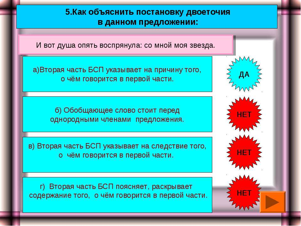 5.Как объяснить постановку двоеточия в данном предложении: а)Вторая часть БСП...