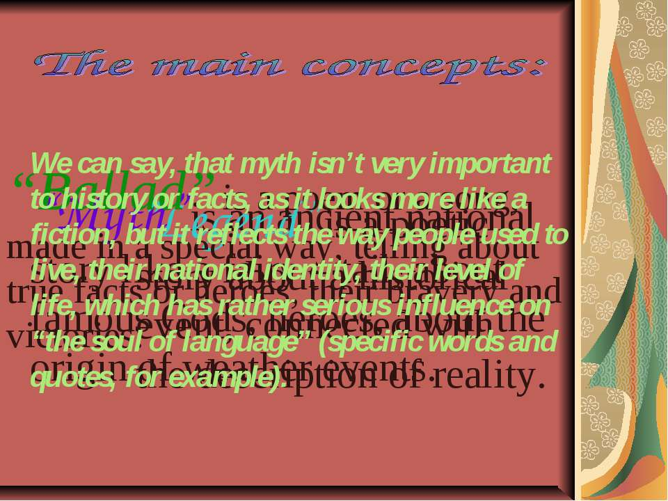"""""""Myth"""" is an ancient national story like a fairy – tail, about famous Gods, h..."""