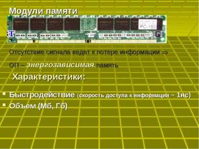 Быстродействие (скорость доступа к информации ~ 1нс) Объем (Мб, Гб) Модули па...