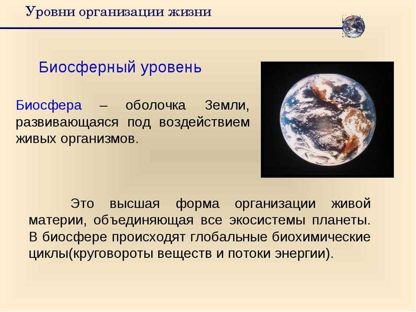 Уровни организации жизни Биосферный уровень Биосфера – оболочка Земли, развив...