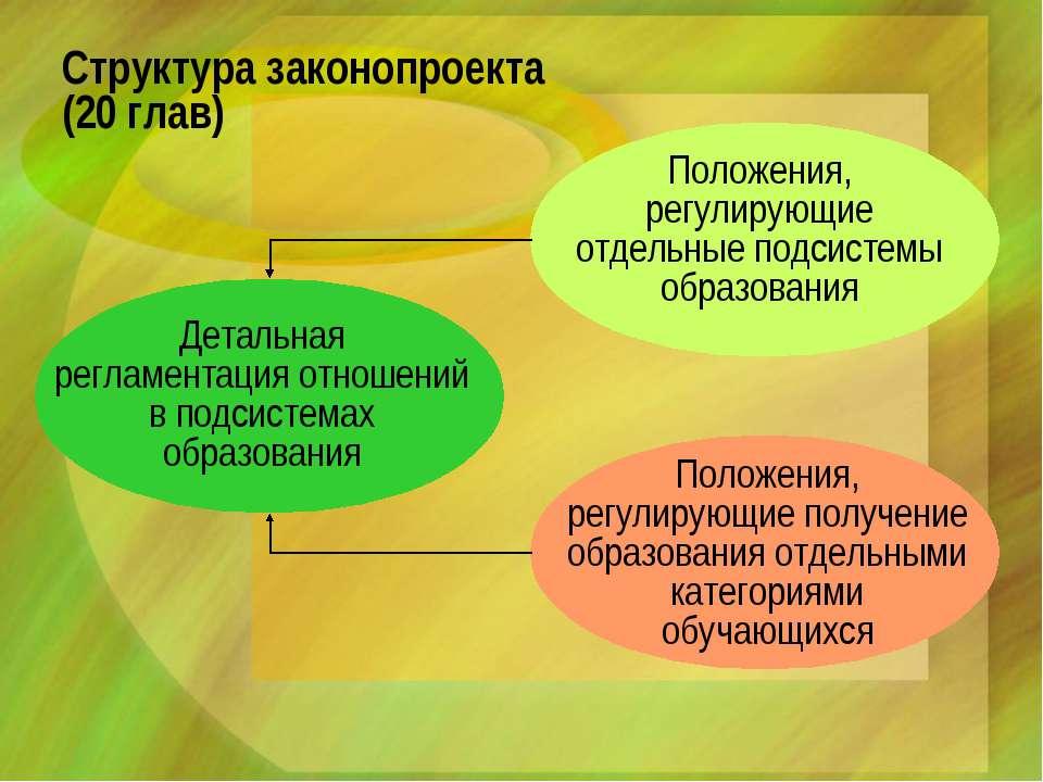 Структура законопроекта (20 глав) Положения, регулирующие отдельные подсистем...