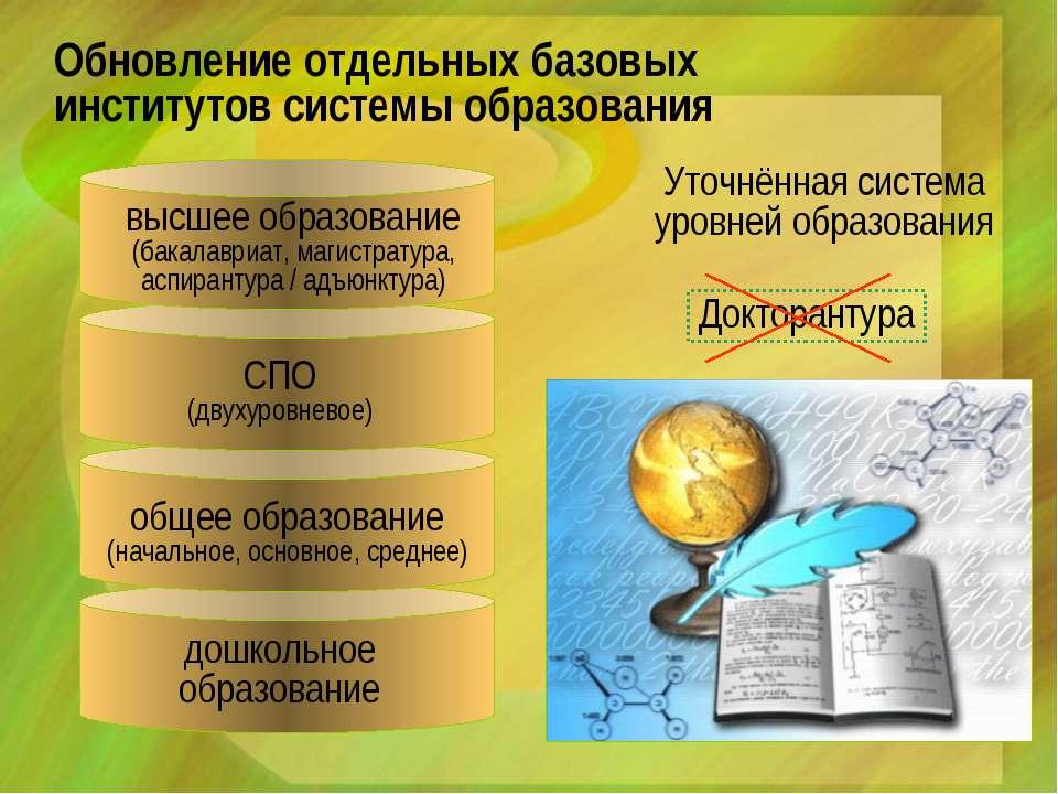 Уточнённая система уровней образования Обновление отдельных базовых институто...