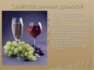 Свойства винных дрожжей Высокая бродильная активность (скорость образования С...