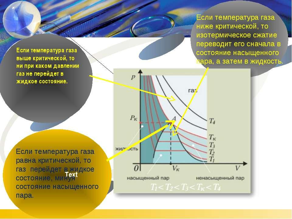 Если температура газа равна критической, то газ перейдет в жидкое состояние, ...