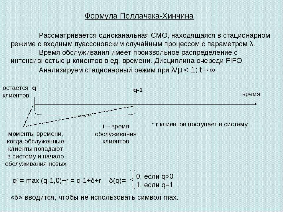 Формула Поллачека-Хинчина Рассматривается одноканальная СМО, находящаяся в ст...
