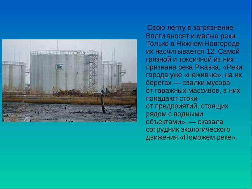 Свою лепту взагрязнение Волги вносят ималые реки. Только вНижнем Новгороде...