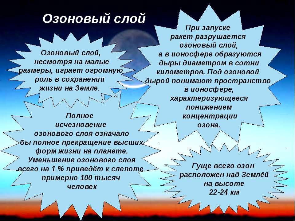 При запуске ракет разрушается озоновый слой, а в ионосфере образуются дыры ди...