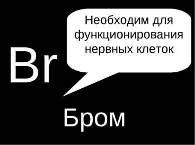 H P Br Бром Необходим для функционирования нервных клеток