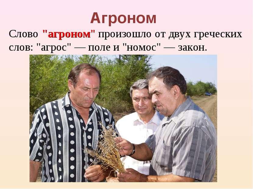 """Агроном Слово """"агроном"""" произошло от двух греческих слов: """"агрос"""" — поле и """"н..."""