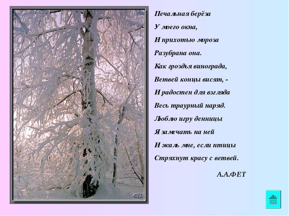 Печальная берёза У моего окна, И прихотью мороза Разубрана она. Как гроздья в...