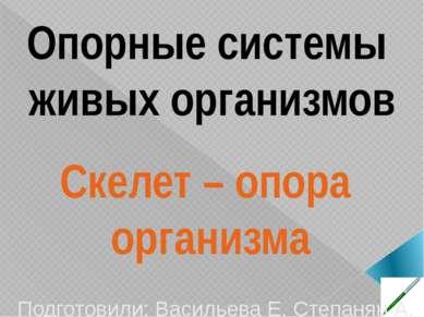 Опорные системы живых организмов Скелет – опора организма Подготовили: Василь...