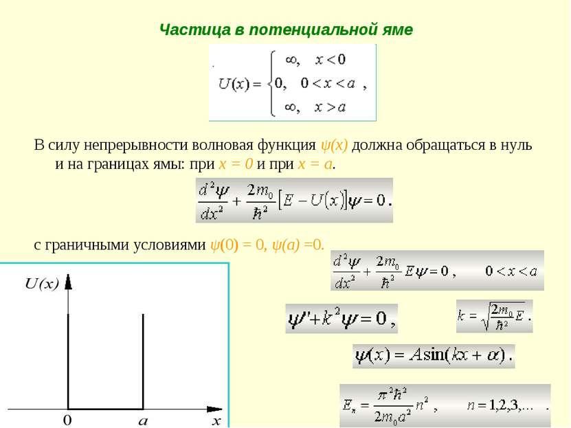 Частица в потенциальной яме В силу непрерывности волновая функция ψ(x) должна...