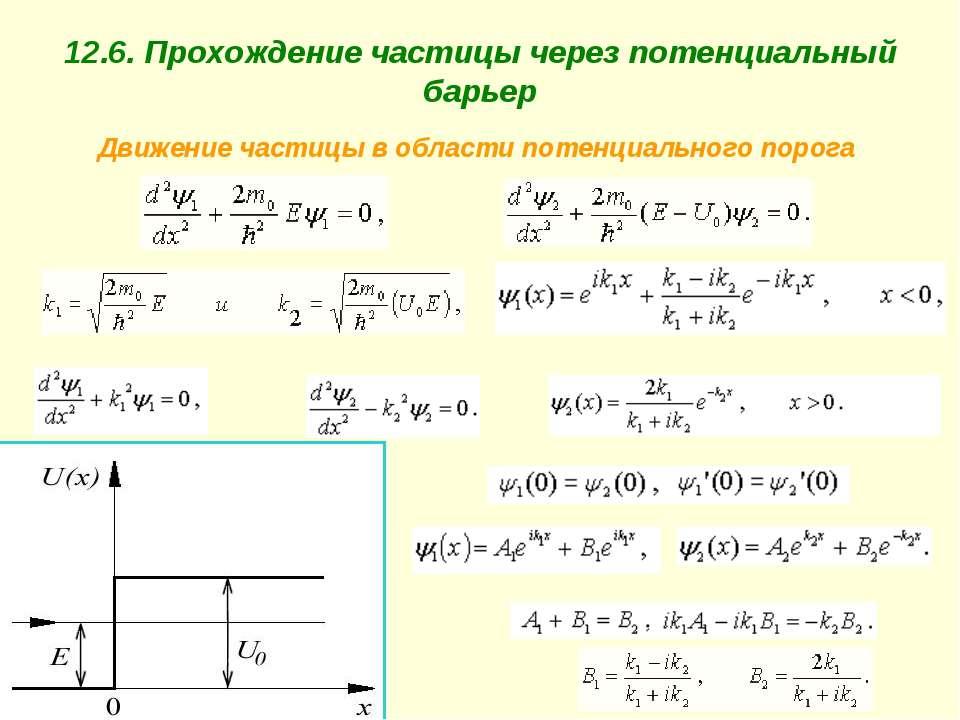 12.6. Прохождение частицы через потенциальный барьер Движение частицы в облас...