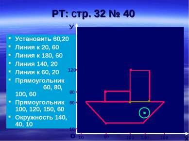РТ: стр. 32 № 40 Установить 60,20 Линия к 20, 60 Линия к 180, 60 Линия 140, 2...