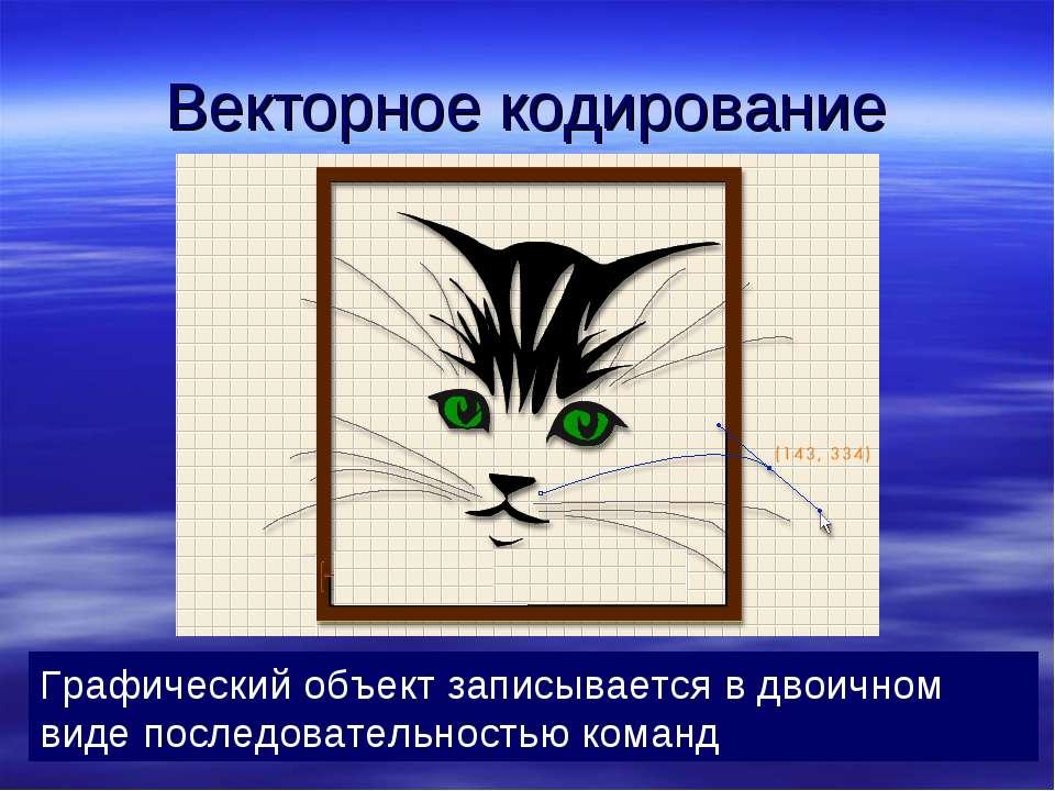 Векторное кодирование Графический объект записывается в двоичном виде последо...