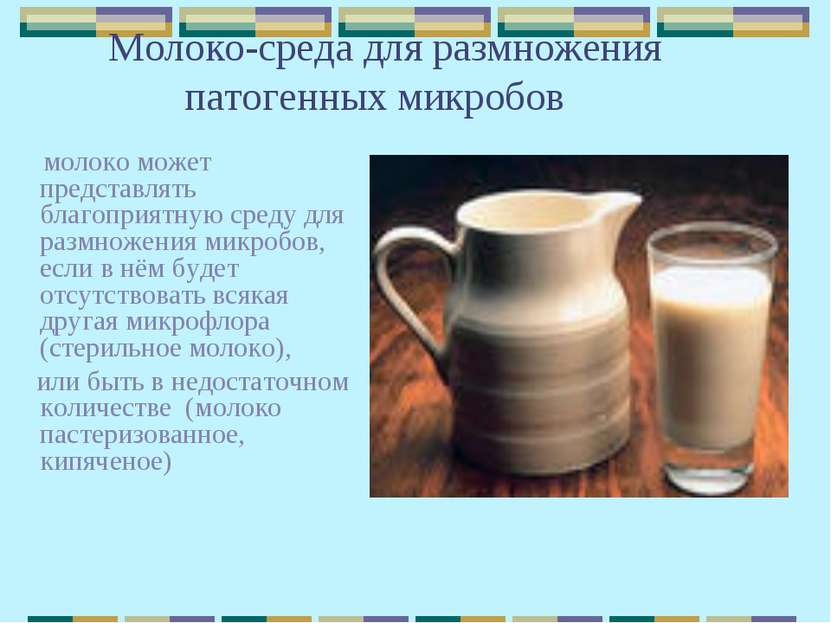 Молоко-среда для размножения патогенных микробов молоко может представлять бл...