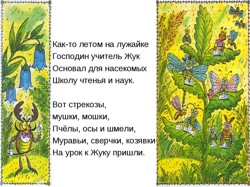 Как-то летом на лужайке Господин учитель Жук Основал для насекомых Школу чтен...