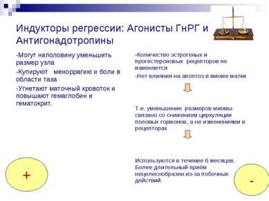 Индукторы регрессии: Агонисты ГнРГ и Антигонадотропины + -