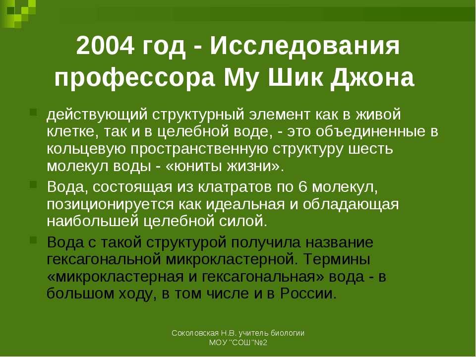 2004 год - Исследования профессора Му Шик Джона действующий структурный элеме...