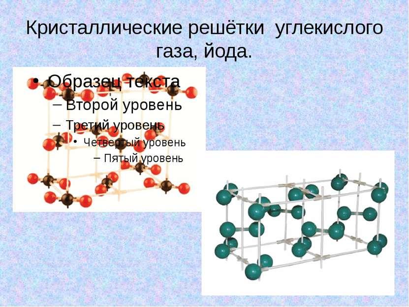 Кристаллические решётки углекислого газа, йода.