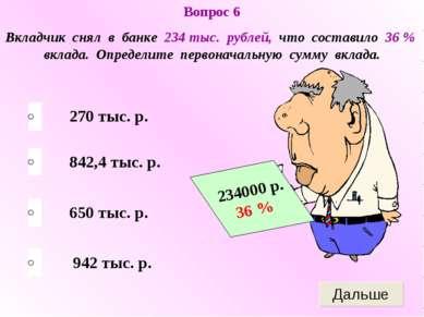 650 тыс. р. 842,4 тыс. р. 942 тыс. р. 270 тыс. р. Вопрос 6 Вкладчик снял в ба...