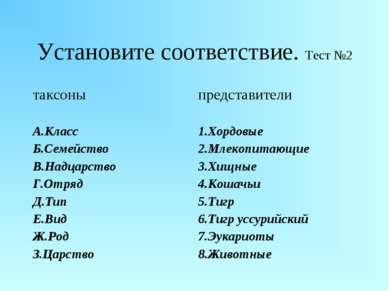Установите соответствие. Тест №2 таксоны представители А.Класс Б.Семейство В....