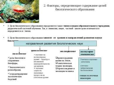 2. Факторы, определяющие содержание целей биологического образования 3. Цели ...
