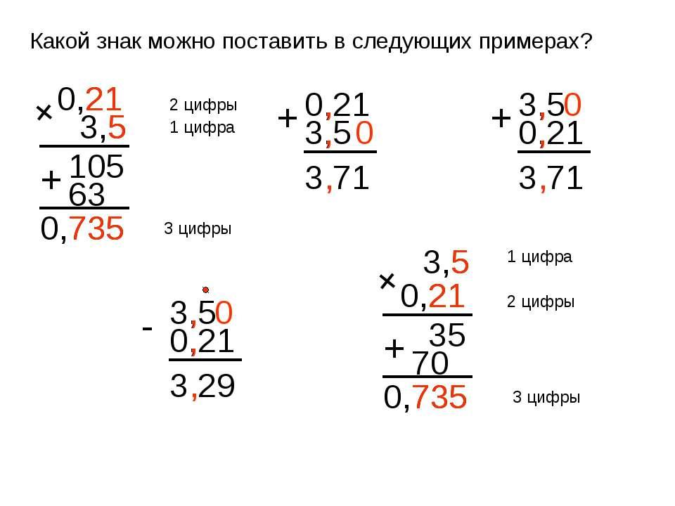 Какой знак можно поставить в следующих примерах? 0,21 3,5 + 105 63 + 735 2 ци...