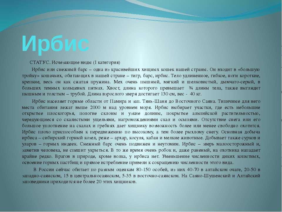 Ирбис СТАТУС. Исчезающие виды (I категория) Ирбис или снежный барс – одна из ...